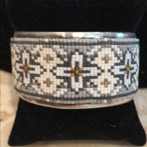 Chan Luu SS glass seed bead cuff